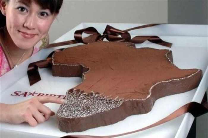 Африка.   Владелец ювелирного магазина в Токио создал шоколадный торт в форме Африки и украс