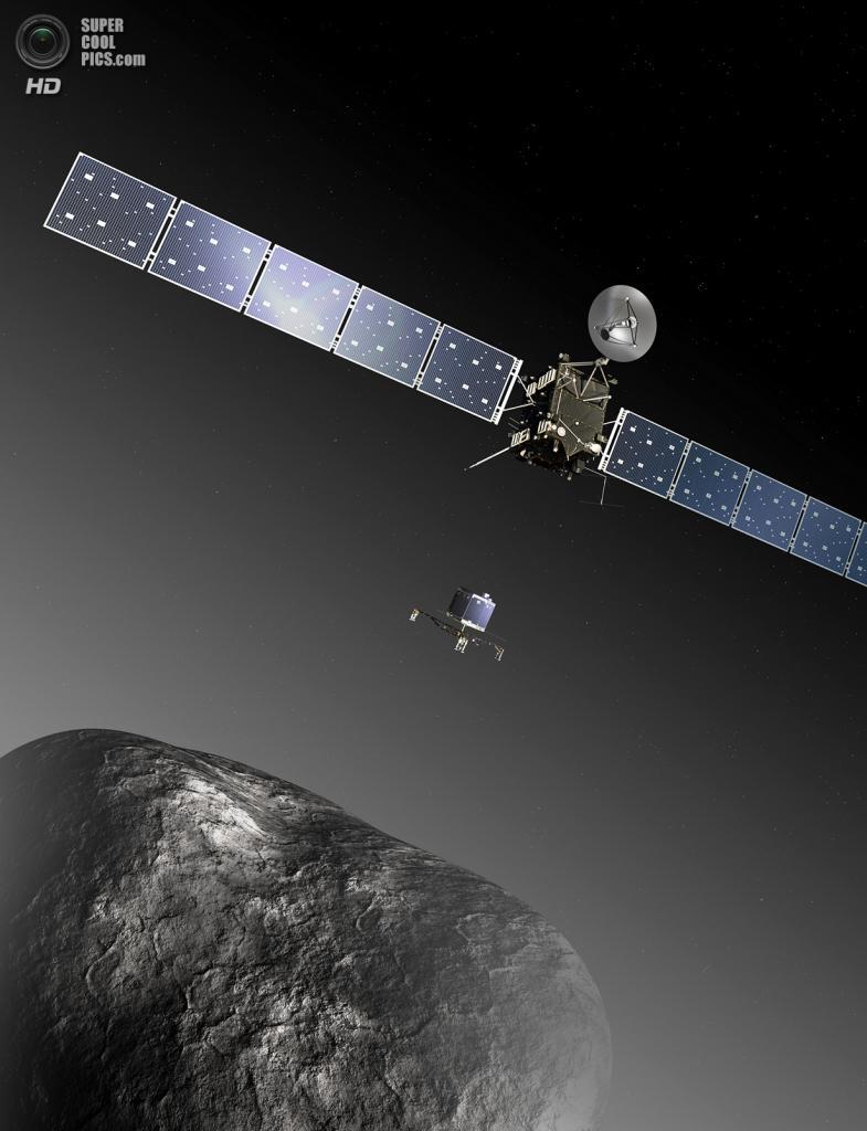 Художественное представление космического аппарата «Розетта» и спускаемого модуля «Филы» у комет