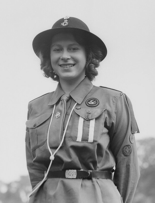 Princess Elizabeth, 16 years old in her Girl Guide Uniform