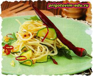 Спагетти с цуккини и мятой