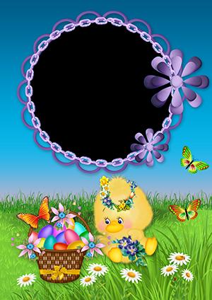 Рамка для фото на Пасху с цыпленком и корзинкой с яйцами и цветами на лужайке