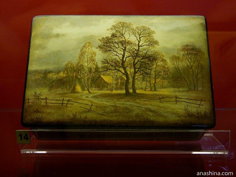Шкатулка с пейзажем, Федоскинская лаковая миниатюра