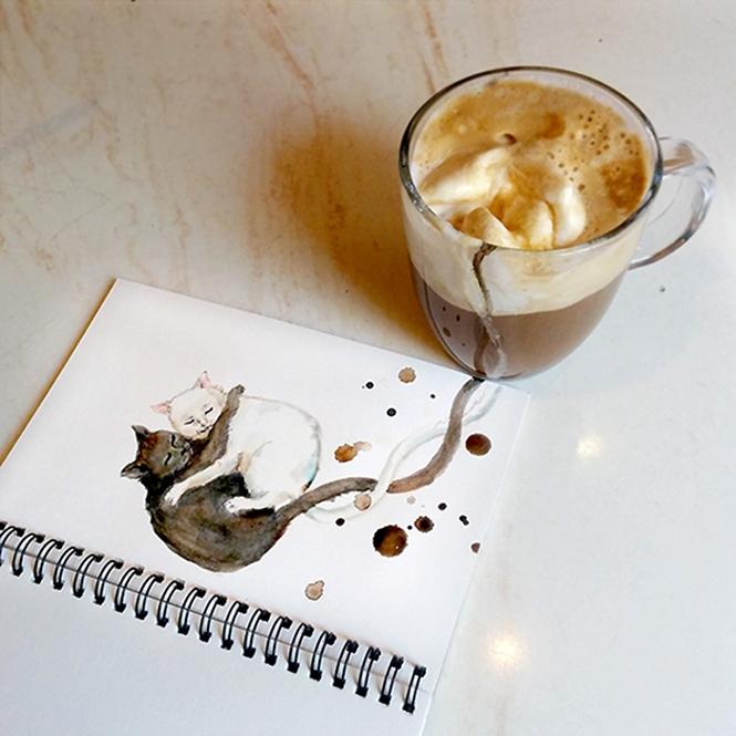 Ilustradora usa cafe para desenvolver pinturas de gatos