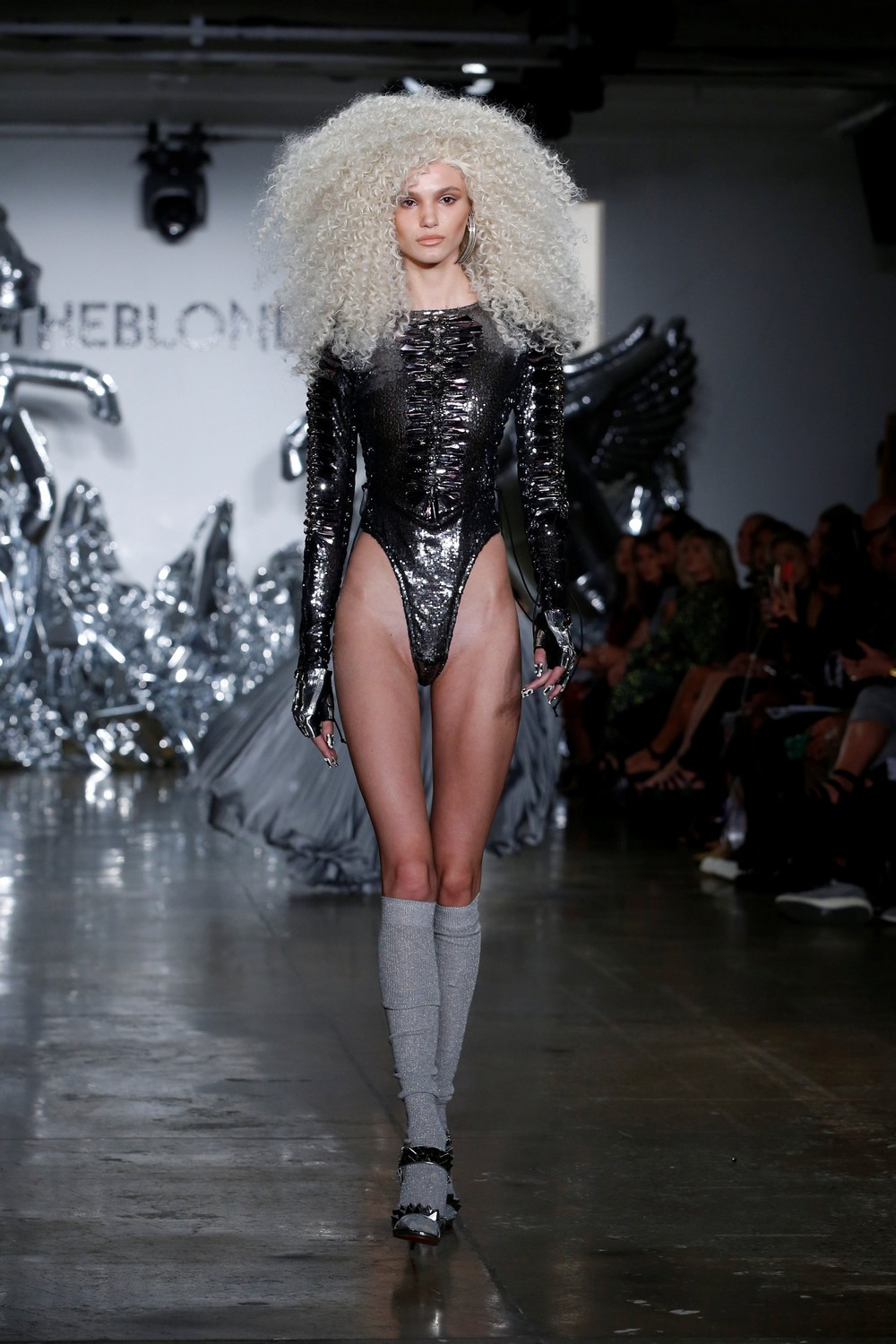 A model presents creations from The Blonds Spring/Summer 2017 collection during New York Fashion Week in the Manhattan borough of New York