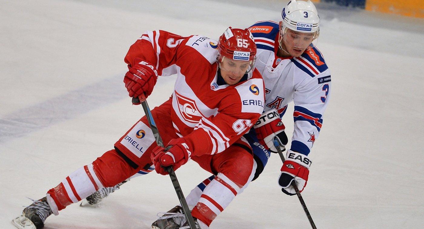 «Спартак» одержал волевую победу над СКА ввыездном матче чемпионата КХЛ