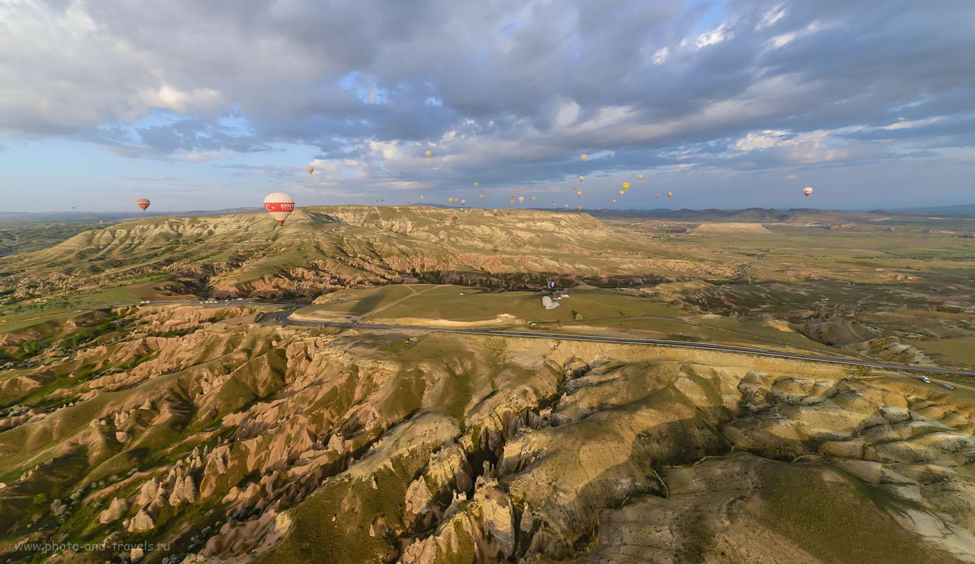 Фото 16. Пример съемки полета воздушных шаров на полнокадровую камеру Nikon D610 и сверхширокоугольный объектив Samyang 14mm f/2.8. Отзывы туристов об экскурсиях в Гёреме в Каппадокии. Путешествие по Турции на авто. 1/1250, -1.0, 8.0, 1250, 14.0.
