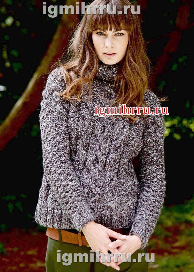 Уютно и тепло! Серый меланжевый свитер с косами. Вязание спицами