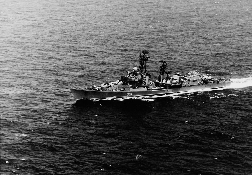 BEDOVYI. Soviet KILDIN Class guided missile destroyer in the Atlantic Ocean, headed for Cuba.
