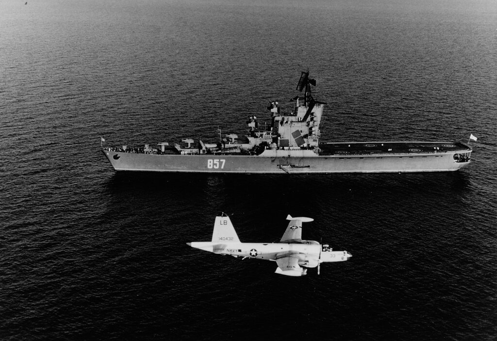 MOSKVA (Soviet Helicopter Carrier). In the Mediterranean Sea, 1968, being watched by a sp-2H Neptune of VP-7.