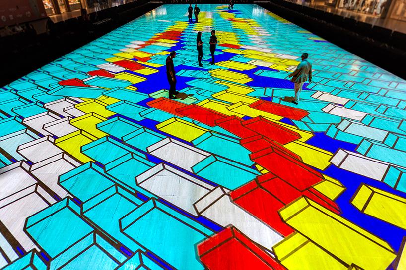 Интерактивный калейдоскопический пол от Miguel Chevalier