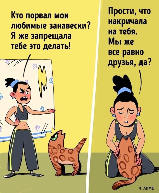 Кот одним взглядом может вызвать чувство вины укого угодно. Даже если виноват сам кот. Особенно есл