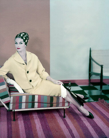 Model in Yellow Suit on Striped Chair