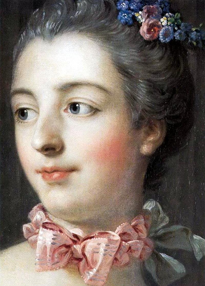 Портрет маркизы Помпадур(ок.1758) (37.9 × 46.3) (Эдинбург, Нац. галерея Шотландии)(деталь)