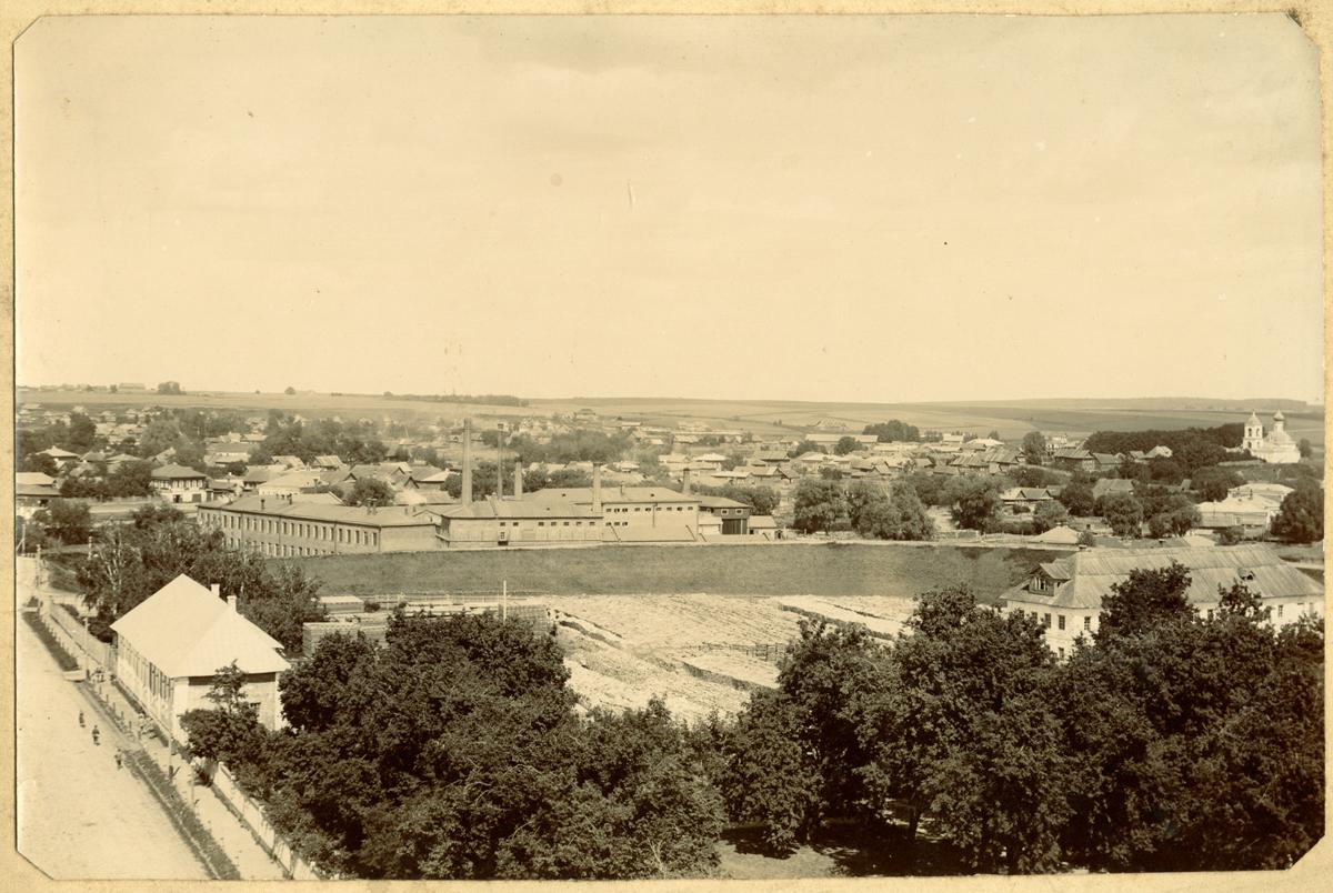 Вид на часть города с домом Чечелева слева, земляными валами, фабрикой Павлова за ними церковью Вознесения справа. Снято с колокольни Нового Собора