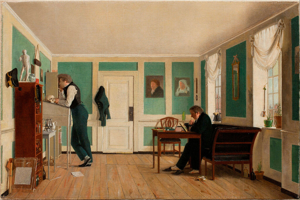 Wilhelm_Bendz_-_Interior_from_Amaliegade__Captain_Carl_Ludvig_Bendz_standing_and_Dr__Jacob_Christian_Bendz_seated_-_Google_Art_Project.jpg