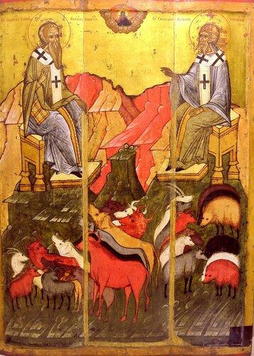 Святые Власий Севастийский и Спиридон Тримифунтский. Икона. Новгород, около 1407 года.