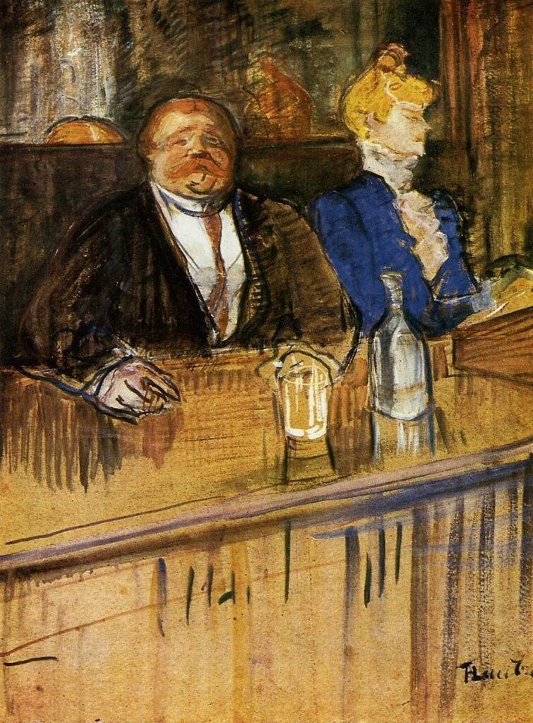 At the Cafe - The Customer and the Anemic Cashier  - 1898-1899 - Kunsthaus - Zurich - Painting - oil on cardboard.jpg