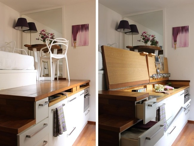 © apartmenttherapy  Аесли нет места неточто для рабочей зоны, адаже для самой кухни, время