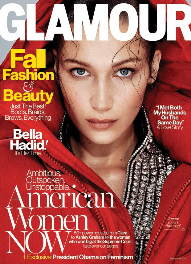 Top model Bella Hadid lands the cover story of American Glamour 's September 2016 edition capt