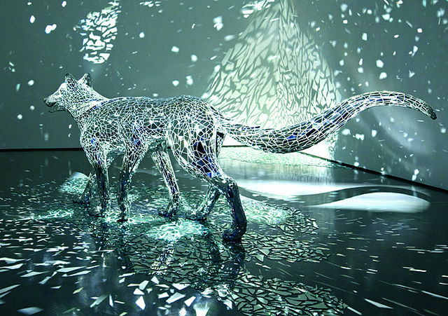 A Reflective Six-Legged Wolf Covered in Mirror Shards by Tomoko Konoike