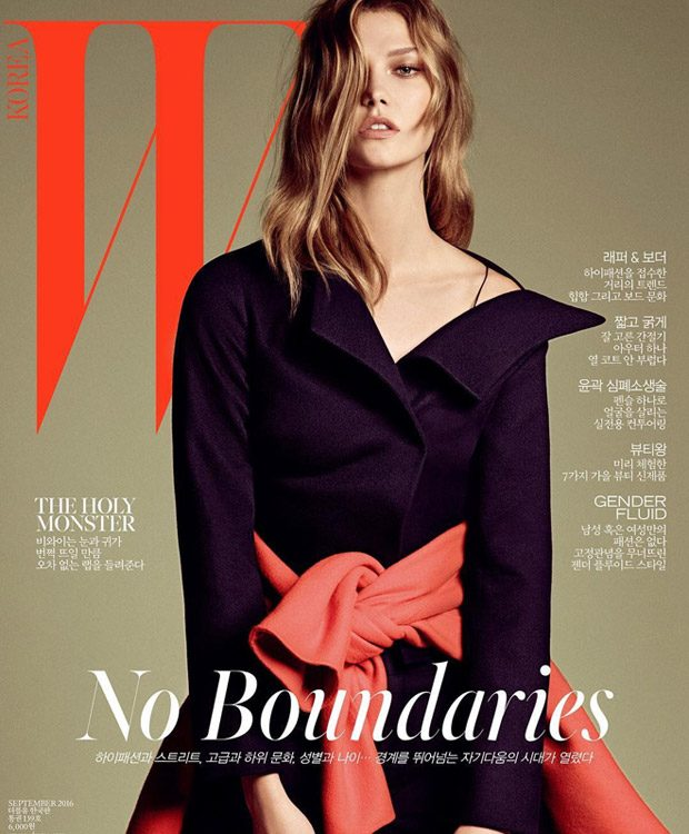 Supermodel Karlie Kloss stars on the cover of W Korea 's September 2016 edition lensed by fash