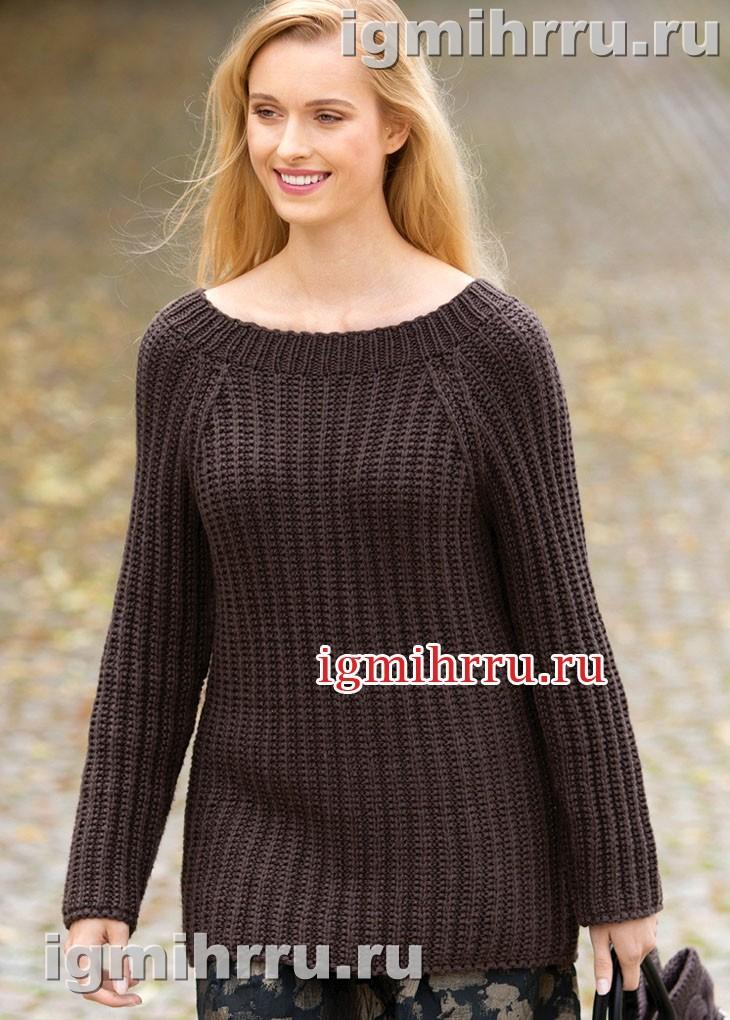 Повседневный коричневый пуловер с рукавами реглан. Вязание спицами