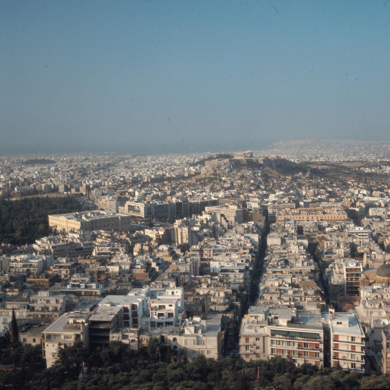Вид с Ликавита на парламент, Акрополь и Пирей