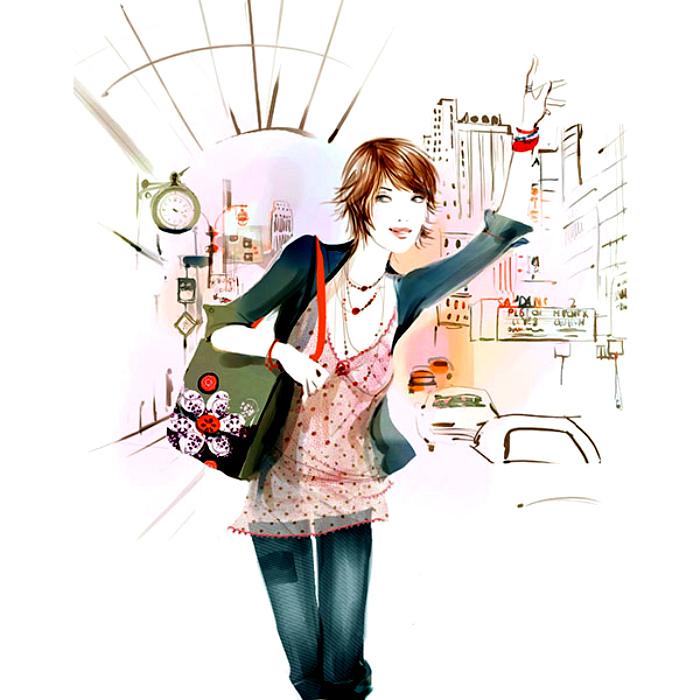 【3D-插画-工笔画素材篇】时尚美人画4 - 浪漫人生 - .