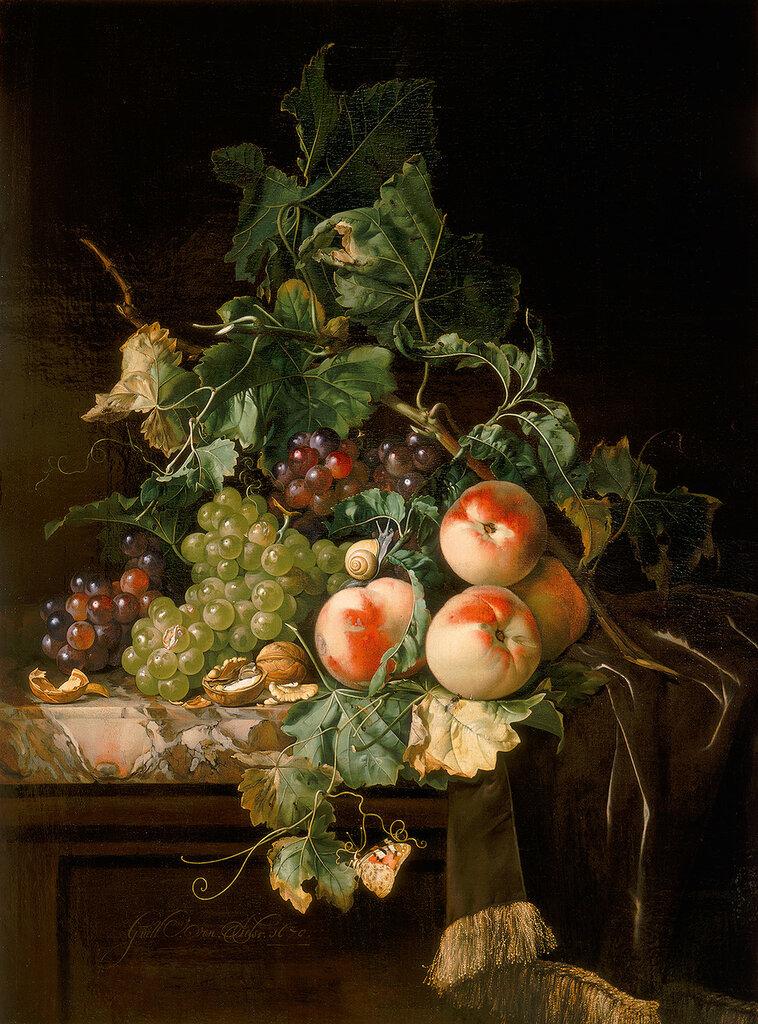 Натюрморт с виноградом, персиками и грецким орехом (Частная коллекция).jpg