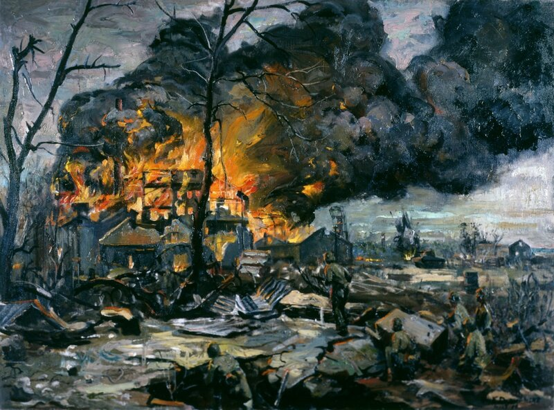 William F. Draper - Inferno (1944) In the village of Charou Kanan, Saipan, the sugar mill became an inferno on D-Day.