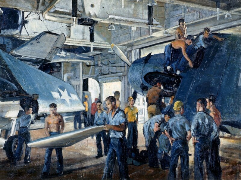 William F. Draper - Hangar Deck of Carrier (Palau Strike Series) (1944) Preparing for a Strike on Palau in the Pacific Ocean.