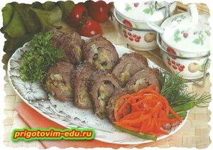 Рулет из говядины с грибами.рецепт