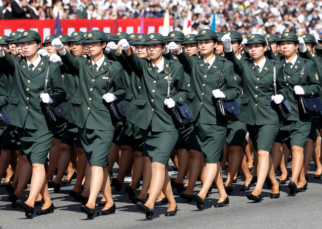 Japan's Self-Defence Forces' women's personnel march during the annual SDF ceremony a