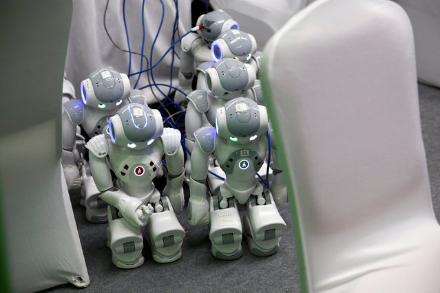 NAO robots are being charged at the WRC 2016 World Robot Conference in Beijing, China, October 21, 2