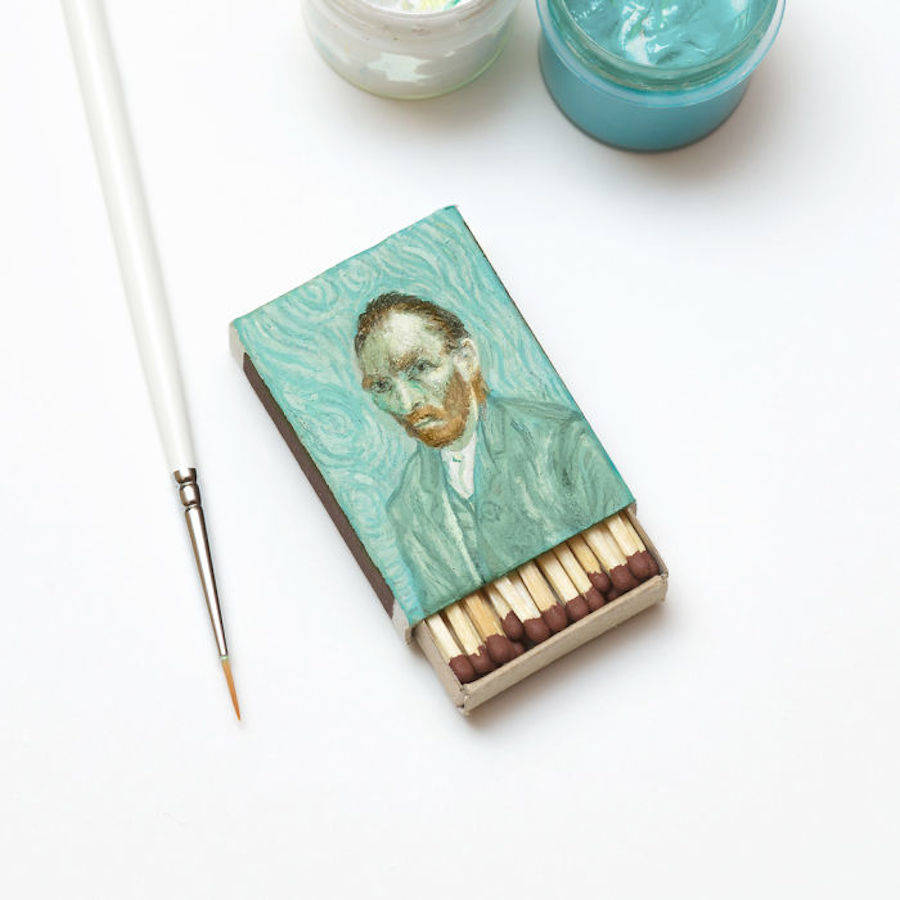 Tiny Famous Van Gogh Paintings on Matchboxes (7 pics)