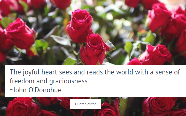 The joyful heart sees and reads the world with a sense of freedom and graciousness. ~John O'Donohue