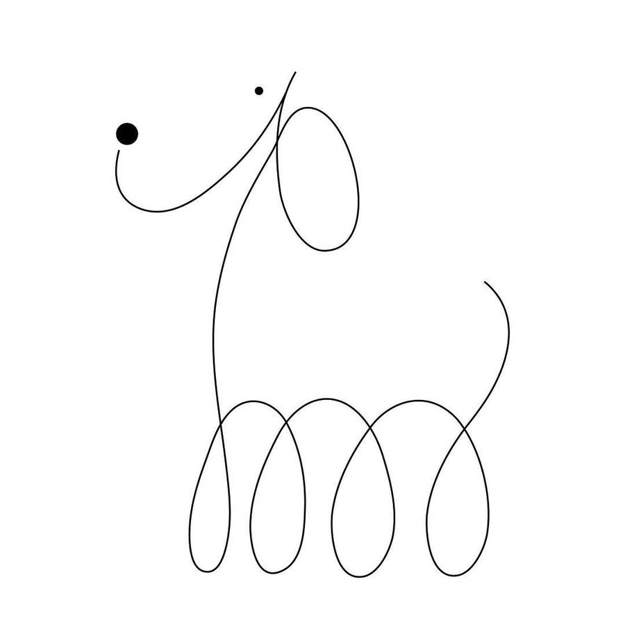 Minimalist Dogs Illustratred with Two Dots and One Line