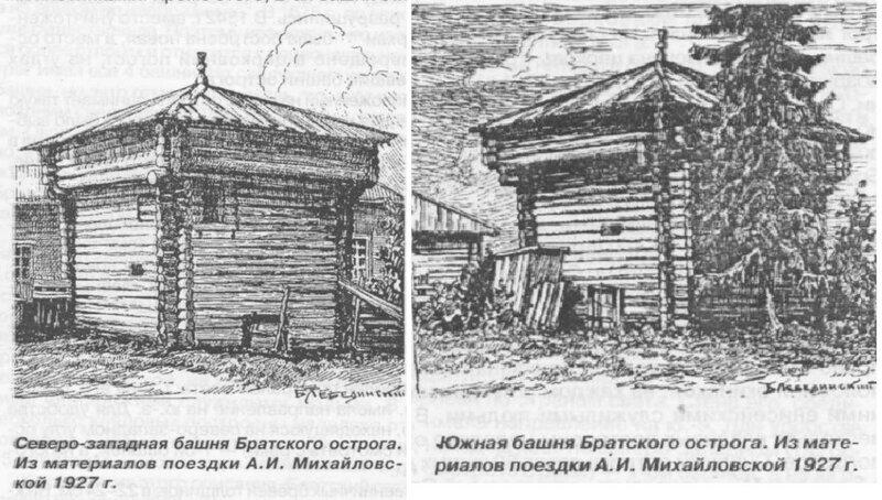 Зарисовки башен Братского острога (1927 год)