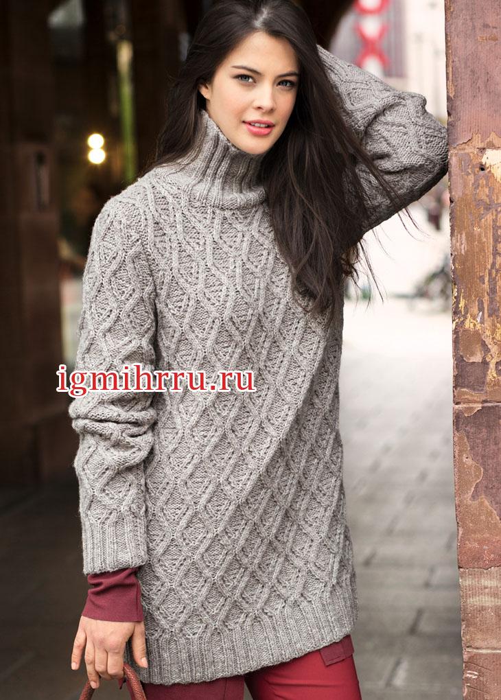 Удлиненный теплый свитер с узором из ромбов. Вязание спицами