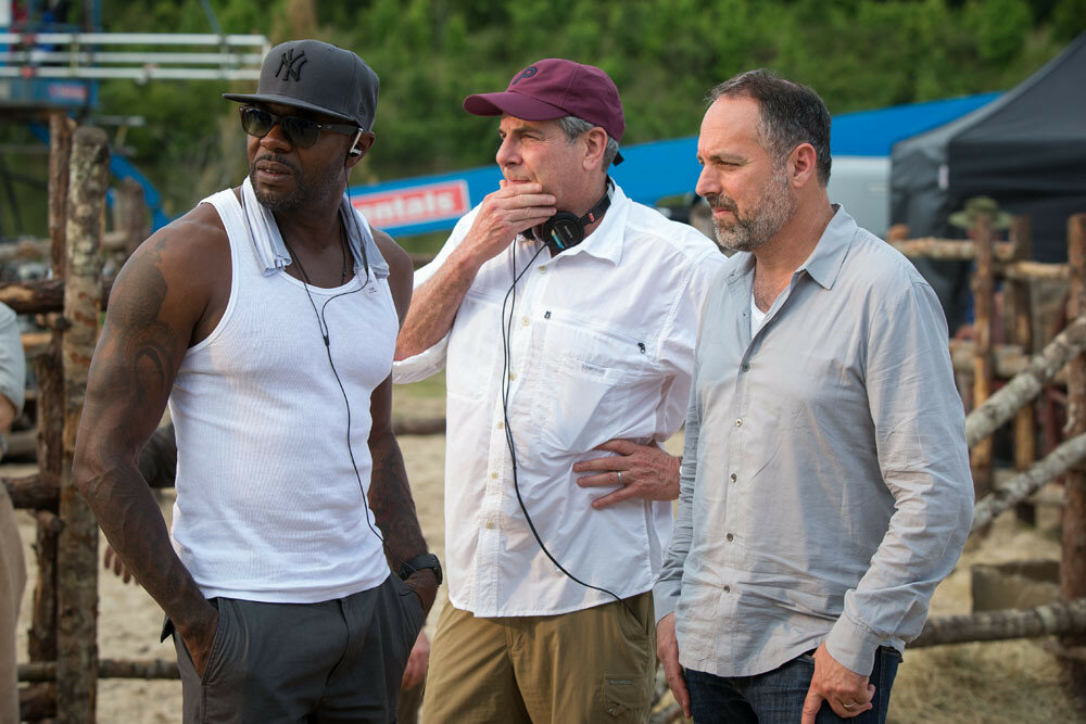 (l to r) Director Antoine Fuqua with producers Roger Birnbaum and Todd Black on the set of Metro-Goldwyn-Mayer Pictures and Columbia Pictures' THE MAGNIFICENT SEVEN.