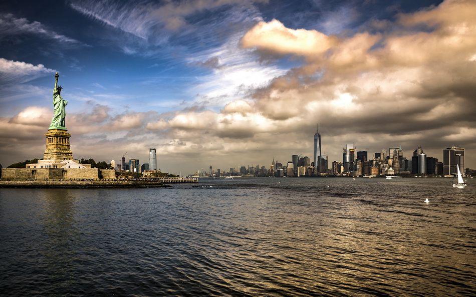 Манхэттен, Нью-Йорк, Гудзон, статуя свободы