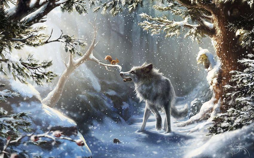 Новый год, сказочный лес, сказка, животные