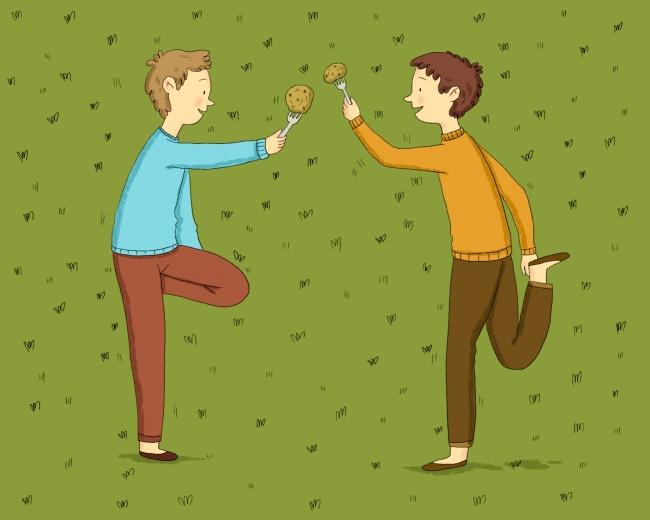 Количество участников: 2, общее число пар— почислу желающих повеселиться Что понадобится: вилки и