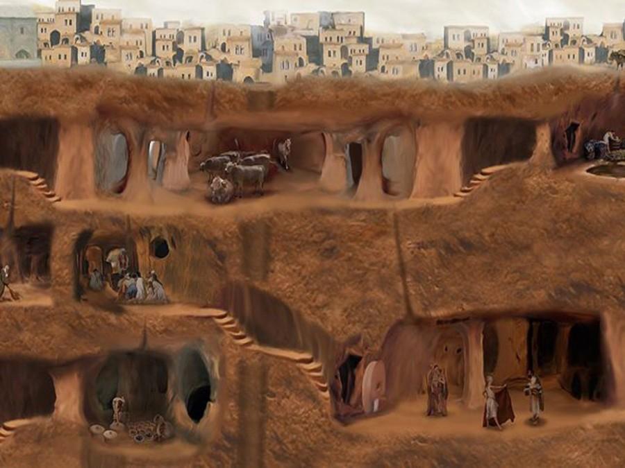 1. В этом городе, уходящем в глубину на 80 метров, ранее, скорее всего, проживало около 20 тысяч жит