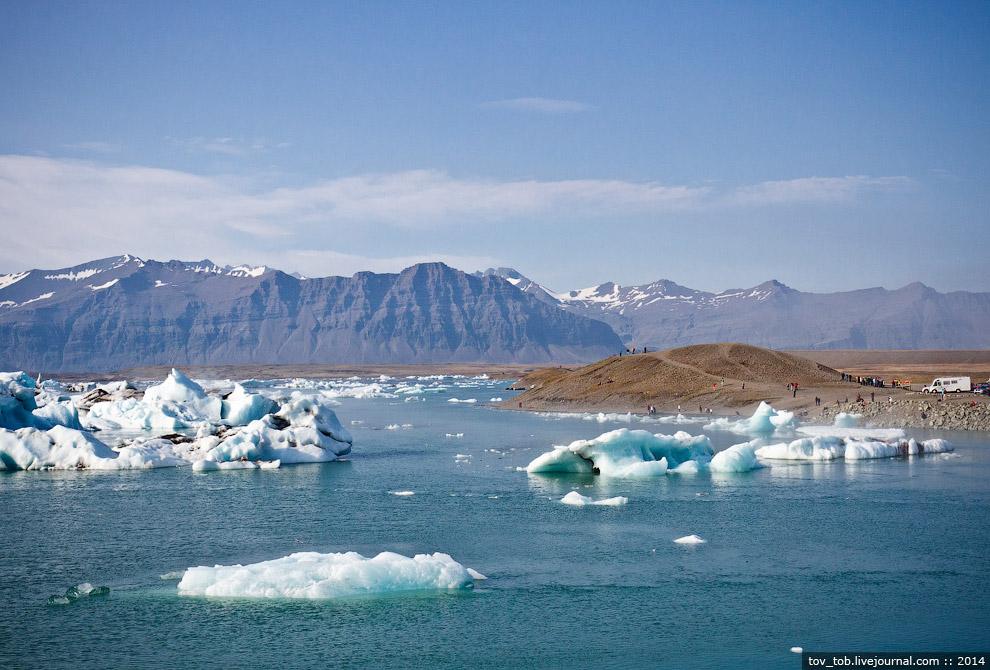 На заднем плане видно ледник, который постоянно подкармливает Лагуну льдом. С виду до него руко