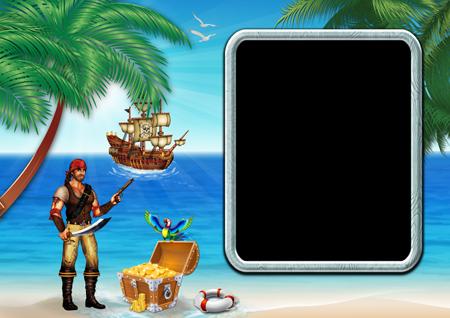 Фоторамка со стоящим на берегу моря вооруженным пиратом рядом с сундуком с золотом и пиратским кораблем