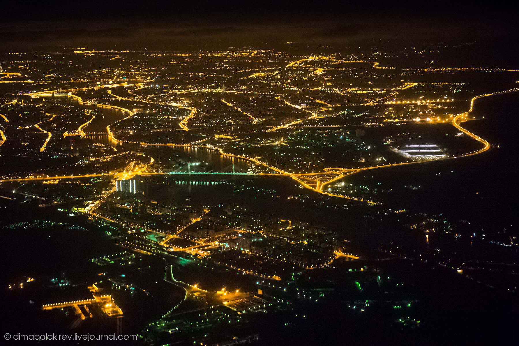 Ночной Питер из самолёта