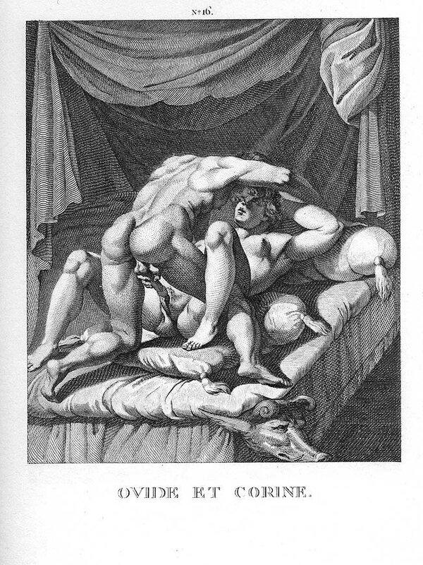 Овидий и Коринна. Гравюра имеет сходство с Позой 3 из копии I Modi 1550 года.jpg