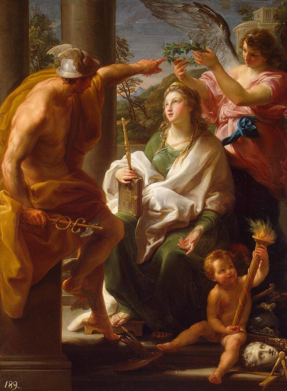 Помпео Батони - Меркурий, коронующий Философию - Мать Искусств