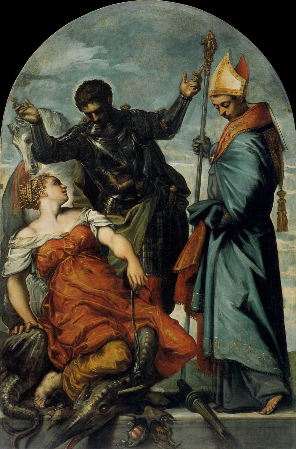 TINTORETTO St Louis, St George, and the Princess c. 1553 Oil on canvas, 226 x 146 cm Gallerie dell'Accademia, Venice